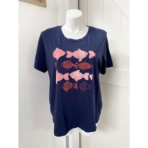 Ulla Popken Navy Blue Orange Fish Teeshirt